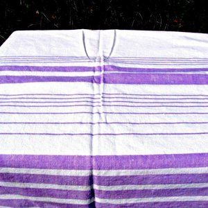 Other - Vtg Mid Century Tablecloth Lavender White Stripe